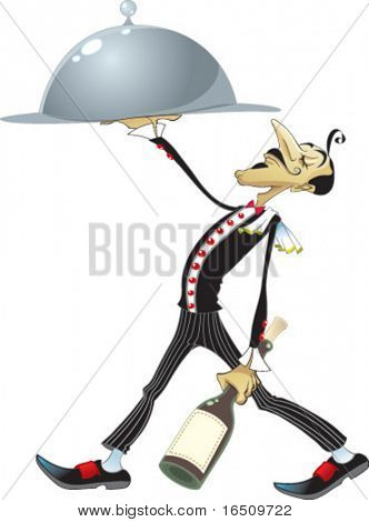 Funny waiter with a bottle of wine and a dish. Funny cartoon and vector character