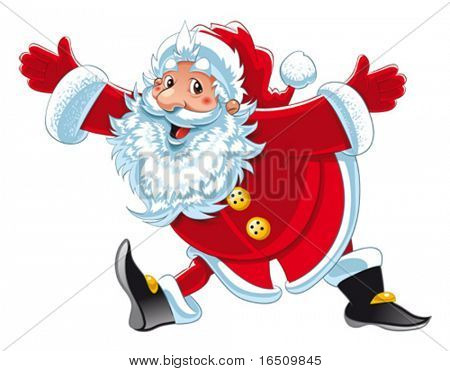 Santa Claus. Funny cartoon and vector isolated character