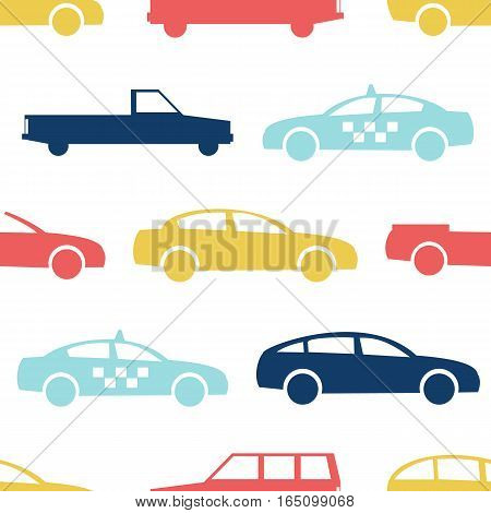 Retro car seamless pattern. Vector illustration for transport design. Bright vehicle, car, automobile, taxi pattern. Car wallpaper background. Cartoon silhouette shape. Transportation auto pattern