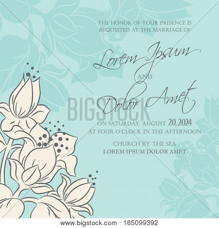 Wedding invitation or announcement floral decorative card