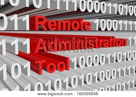 Remote Administration Tool is presented in the form of binary code 3d illustration