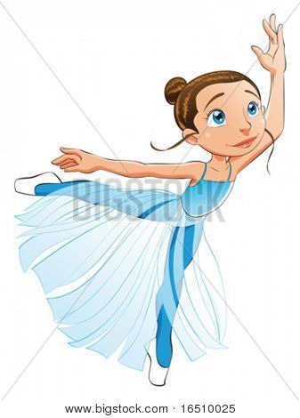 Dancer girl. Funny cartoon and vector character