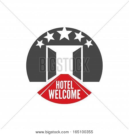 Five stars hotel round logo template. Isolated Vector illustration