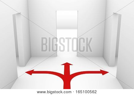 the choice of direction in the form of white room and red arrows 3D illustration