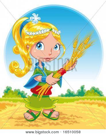 Summer girl. Funny cartoon and vector character.