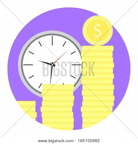 Time money icon. Golden coin and clock dial. Vector illustration