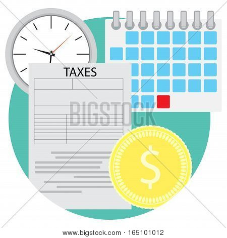 Tax icon flat. Business finance and financial audit document vector illustration