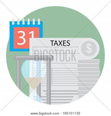 Tax day icon. Payment tax to government hourglass and calendar. Vector illustration