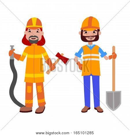 People builder and firefighter different professions vector illustration. Success teamwork diversity human work lifestyle. Standing successful young person character in uniform.