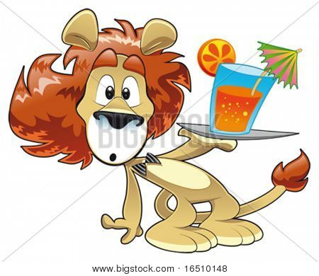 Lion with Drink. Funny cartoon and vector character