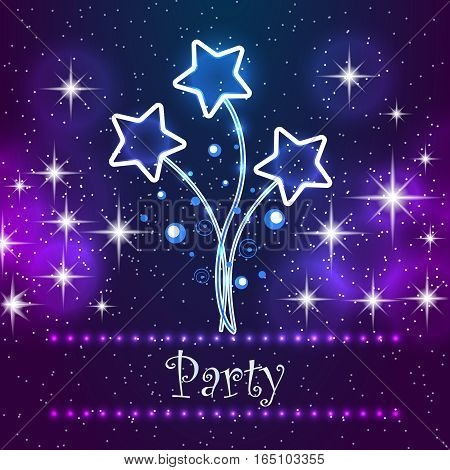 Merry Christmas Party Card. Invitation greeting card for xmas party. Abstract design elements on the night star sky background.