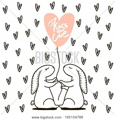 Kiss me text. Cute hand drawn Rabbit keeps balloon. Background for wedding save the date Valentine's Day etc. Vector Illustration