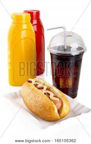 Hotdog With Mustard And Ketchup In The Tray With Cola On White
