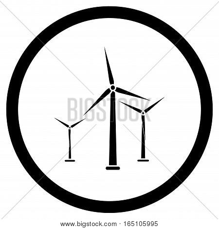 Wind energy black icon. Wind turbine power green energy from windmill vector illustration