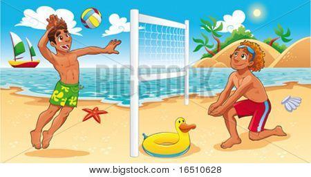 Escena de voley playa. Divertidos dibujos animados y vector ilustración de deporte. Objetos aislados