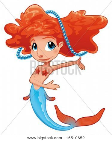Young mermaid. Funny cartoon and vector mythological character.