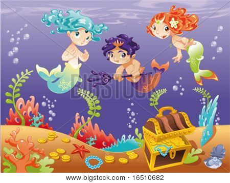 Baby Sirens and Baby Triton with background. Funny cartoon and vector illustration.