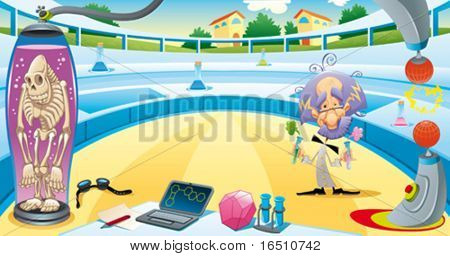 Mad scientist in the laboratory. Funny vector and cartoon illustration. Isolated objects