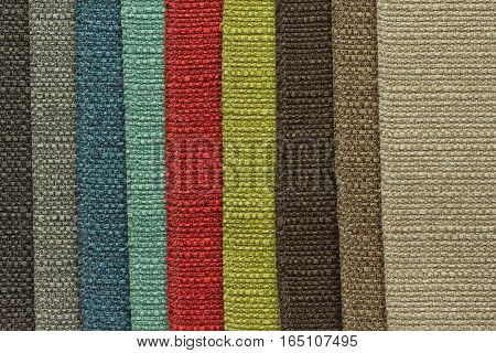 Colorful upholstery fabric samples  for textil and furniture