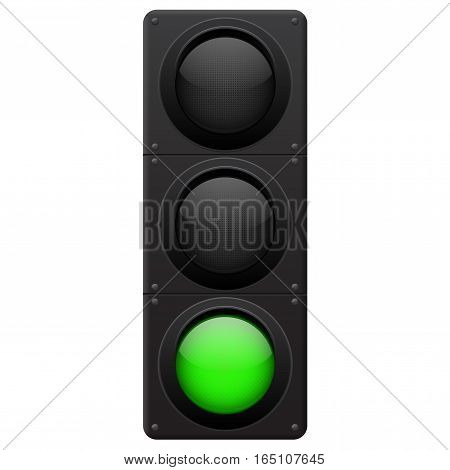 Green traffic lights. Vector illustration isolated on white background