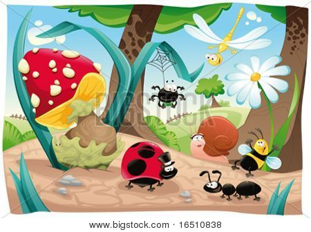 Insects family on the ground. Funny cartoon and vector scene. Objects isolated.