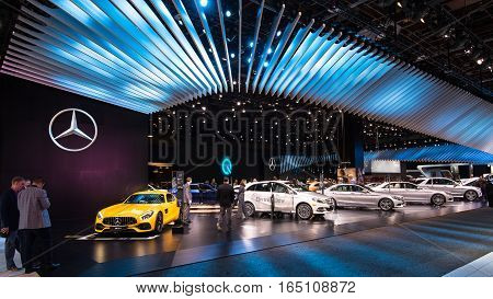 DETROIT MI/USA - JANUARY 10 2017: 2018 Mercedes-AMG GT S at the Mercedes marque exhibit at the North American International Auto Show (NAIAS).