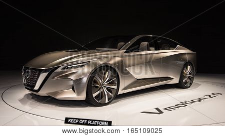DETROIT MI/USA - JANUARY 12 2017: A Nissan Vmotion 2.0 Concept car at the North American International Auto Show (NAIAS).