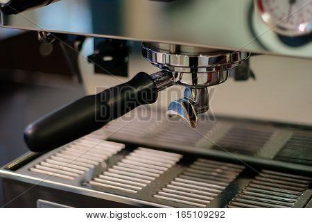 cafeteria professional barista Coffee machine espresso closeup