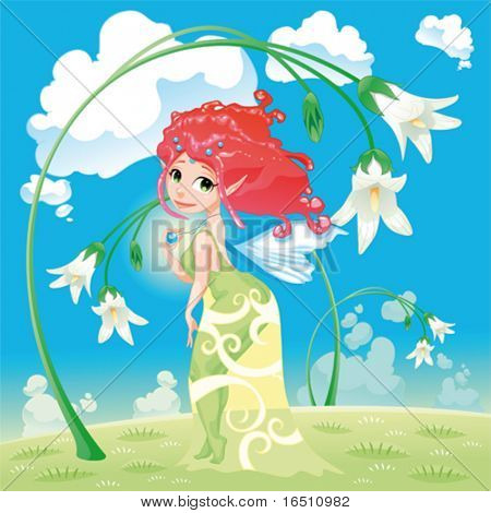 Fairy with flowers. Cartoon and vector illustration.