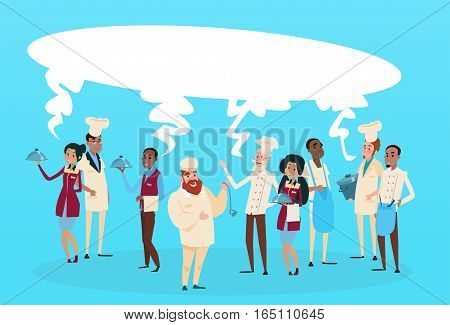 Restaurant Stuff Cook And Waiters Service Mix Race Group Communication Chat Bubble Banner Flat Vector Illustration