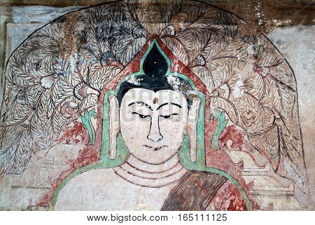 Buddha painting at the archaeological site of Bagan on Myanmar