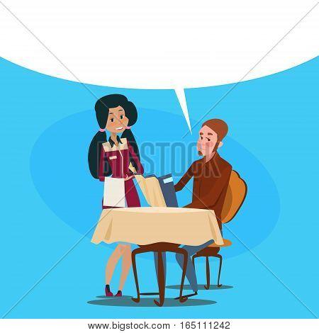 Restaurant Stuff Waitress Serving Client Mix Race People Cafe Interior Flat Vector Illustration