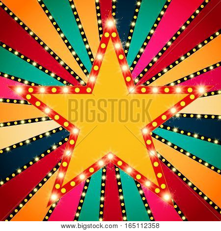 Retro Star Banner On Colorful Shining Background
