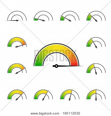 meter signs infographic gauge element from green to red vector illustration