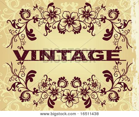 Vector Flower vintage wallpaper (Raster version  18644770)
