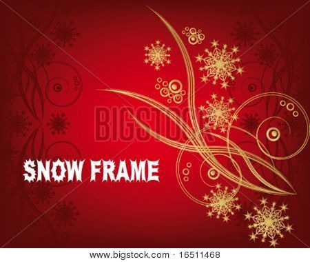 Snowflakes. Christmas and New Year's background is decorated with white pattern on a red background VECTOR (See Jpeg Also In My Portfolio)