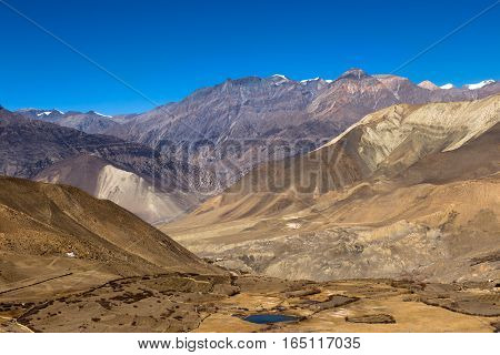 Landscape of Muktinath village in lower Mustang District Nepal.