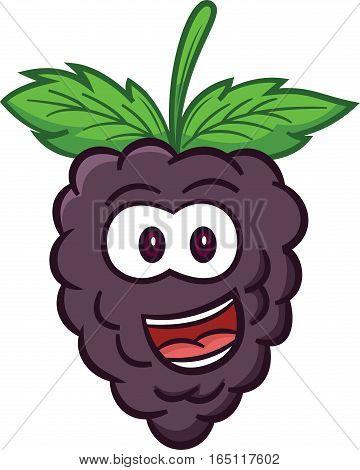 Black Berry Fruit Cartoon Illustration Isolated on White