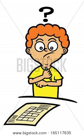 Boy Confused in Answering Crossword Puzzle Cartoon Illustration