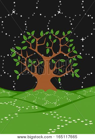 Tree in a field under the stars. The picture shows a honeycomb structure of the universe. The file has 5 layers: sky, stars, earth, flowers, trees.