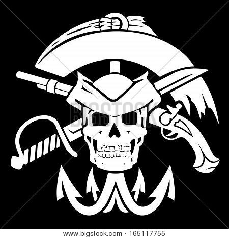 Pirate flag. The file has two layers: a black background and a pirate symbols.