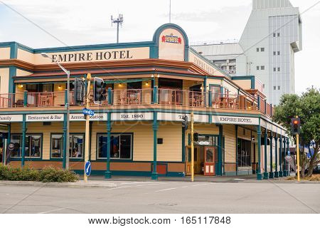 PALMERSTON NORTH NEW ZEALAND - MARCH 30 2013: The Empire Hotel on the Main Street now known as The Cobb dating from 1890 and is a bar restaurant and accomodation landmark in the city
