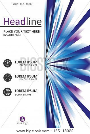 Book cover design in A4 size. Good for books journals banners conferences flyers and print production. Vector illustration with futuristic lines. Publishing industry.
