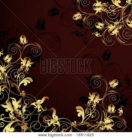 Vector Flower vintage wallpaper (Raster version 25524544)