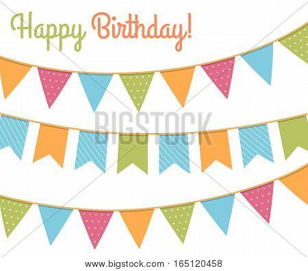 Colorful bunting for happy birthday, vector eps10 illustration