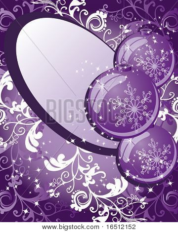 Raster version. Balls. Christmas and holiday background. Decor balls, stars, rays and pattern on a purple background.