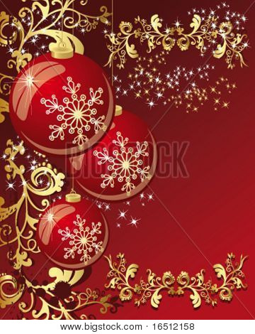 Vector  Balls. Christmas and holiday background. Decor balls, stars, rays and pattern on a red  background.
