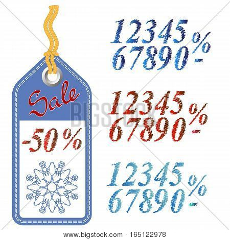 Winter Sale Sticker with Rope Isolated on White Pattern. Set of Colored Grunge Numbers. Promo Offer. Design of Discount Tag. Special Christmas Label