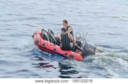 Bucharest, Romania - September 5, 2015. Divers Training On The Red Rescue Boat, Trained Soldiers. Ae