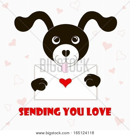 Typography banner Sending you love, black and white cartoons dog with envelope, red hearts, stock vector illustration